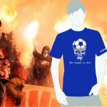 Produktbild T-Shirt nur Fussball im Kopf blau Ultras