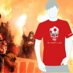 Produktbild T-Shirt nur Fussball im Kopf rot Ultras